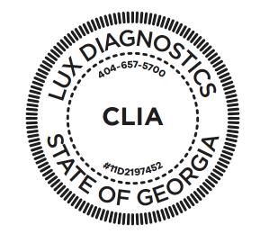 LUX Diagnostic CLIA Stamp